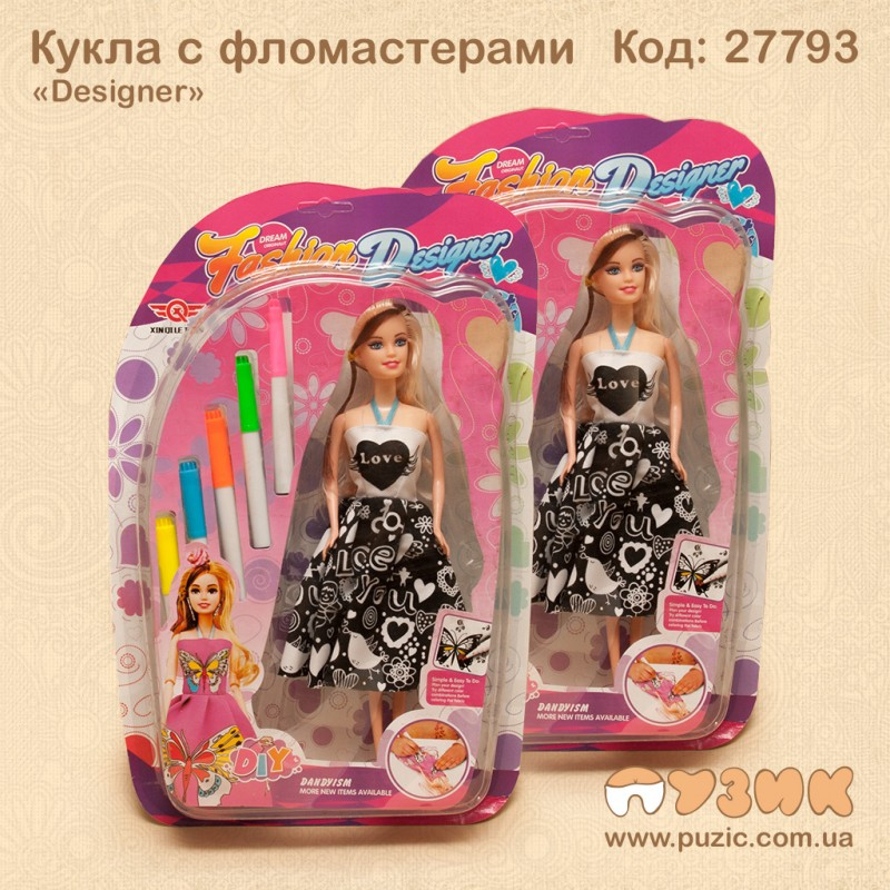 Кукла с фломастерами