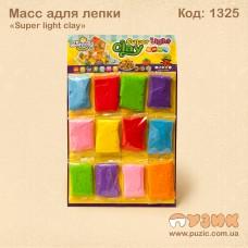Масса для лепки «Super light clay» 12 цветов.