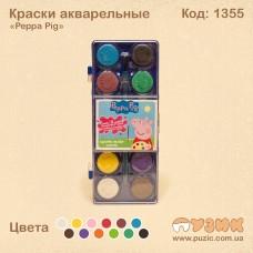 """Краски акварельные """"Peppa Pig"""" полусухие 12 цветов"""