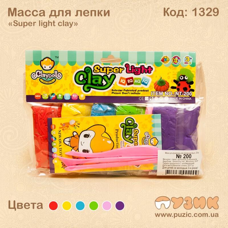 Масса для лепки «Super light clay» 6 цветов